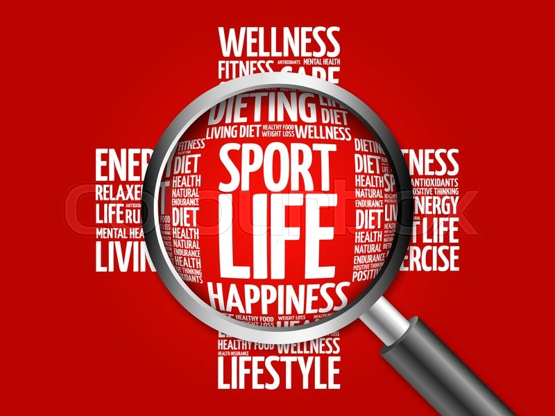 Stock image of 'Sport Life word cloud with magnifying glass, health concept'