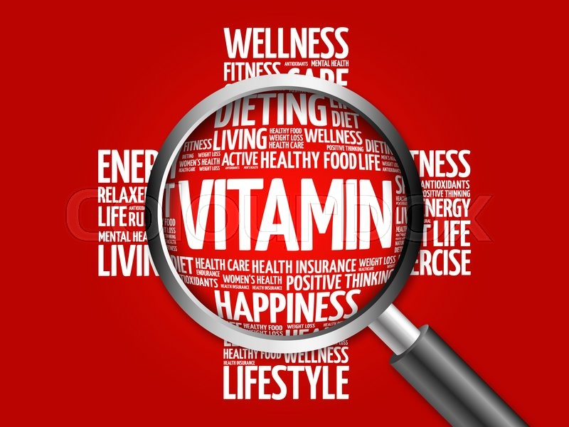 Stock image of 'VITAMIN word cloud with magnifying glass, health concept'