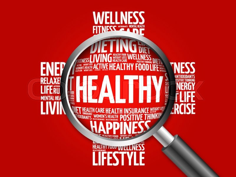 Stock image of 'HEALTHY word cloud with magnifying glass, health concept'