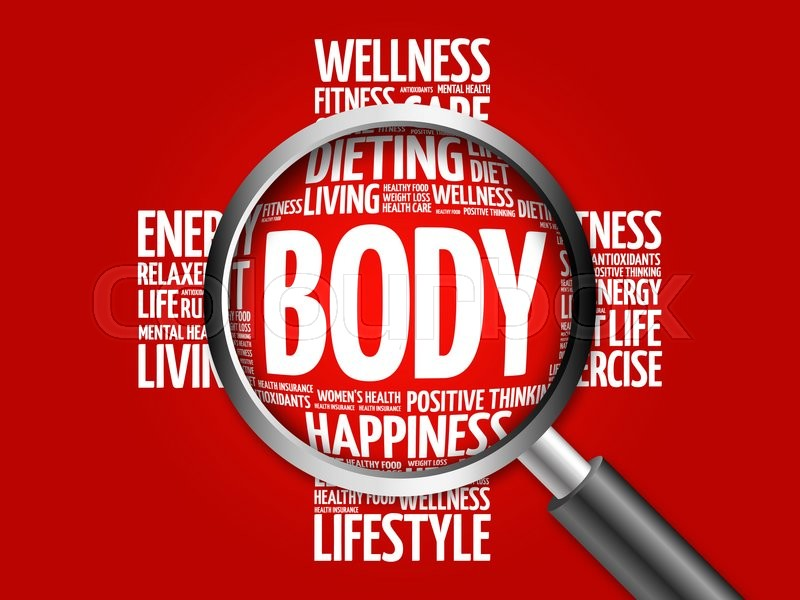 Stock image of 'BODY word cloud with magnifying glass, health concept'