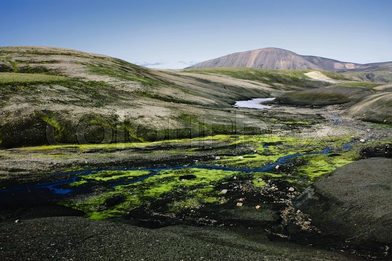 Stock image of 'Landscape with moss in Iceland. Mountain tourism and volcanic are'