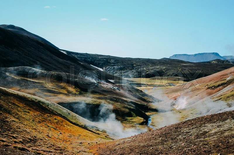 Stock image of 'Landscape with moss in Iceland. Mountain tourism and volcanic area'