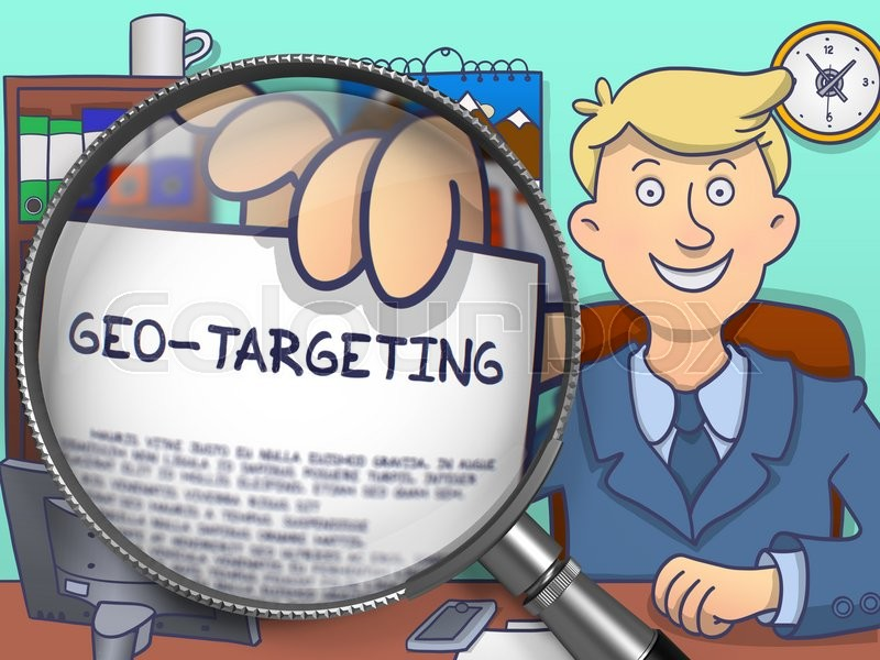 Stock image of 'Geo-Targeting. Business Man in Office Holds Out a through Lens Text on Paper. Multicolor Modern Line Illustration in Doodle Style.'
