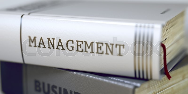 Stock image of 'Stack of Books Closeup and one with Title - Management. Management - Closeup of the Book Title. Closeup View. Blurred Image with Selective focus. 3D Rendering.'
