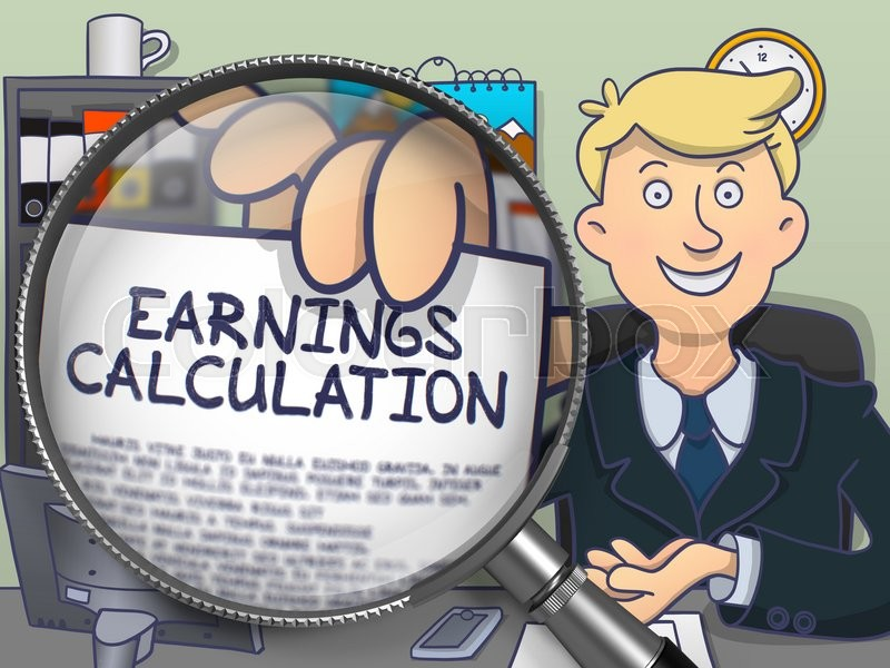 Stock image of 'Earnings Calculation. Businessman in Office Showing through Lens Concept on Paper. Colored Modern Line Illustration in Doodle Style.'