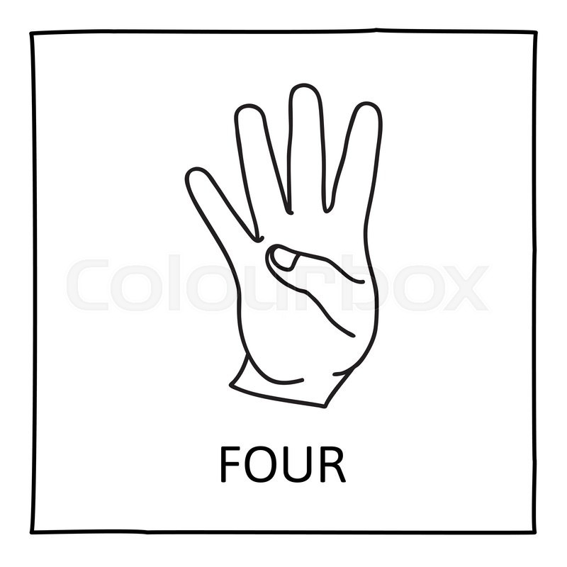 doodle palm icon counting hands showing four fingers graphic