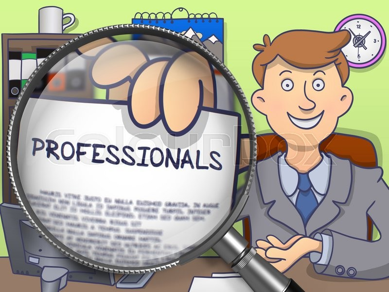 Stock image of 'Man Sitting in Office and Showing a Paper with Inscription Professionals. Closeup View through Magnifying Glass. Multicolor Doodle Illustration.'