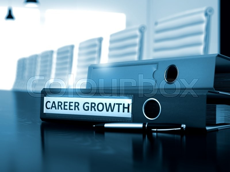 Stock image of 'Career Growth. Concept on Toned Background. Career Growth - Office Binder on Wooden Table. Career Growth - Business Illustration. 3D Render.'