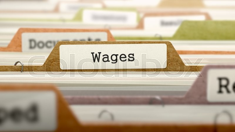 Stock image of 'Wages Concept on Folder Register in Multicolor Card Index. Closeup View. Selective Focus. 3D Render.'