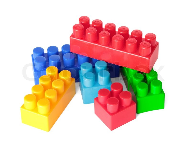 Toy color bricks on white background. Isolated. | Stock ...