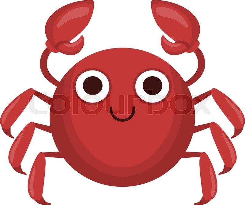 Crab Simple Cartoon Character Flat Primitive Design Bright Color ...