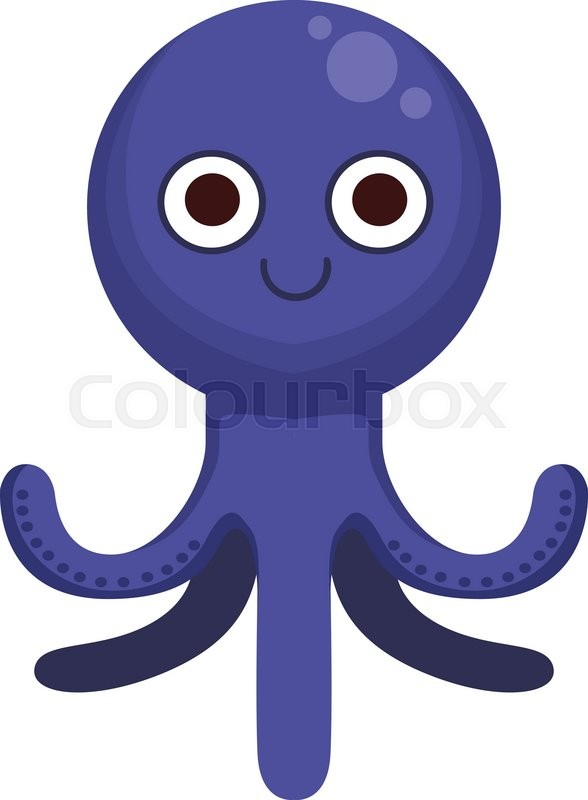 octopus simple cartoon character flat primitive design bright color rh colourbox com cartoon octopus character images Famous Cartoon Characters Octopus