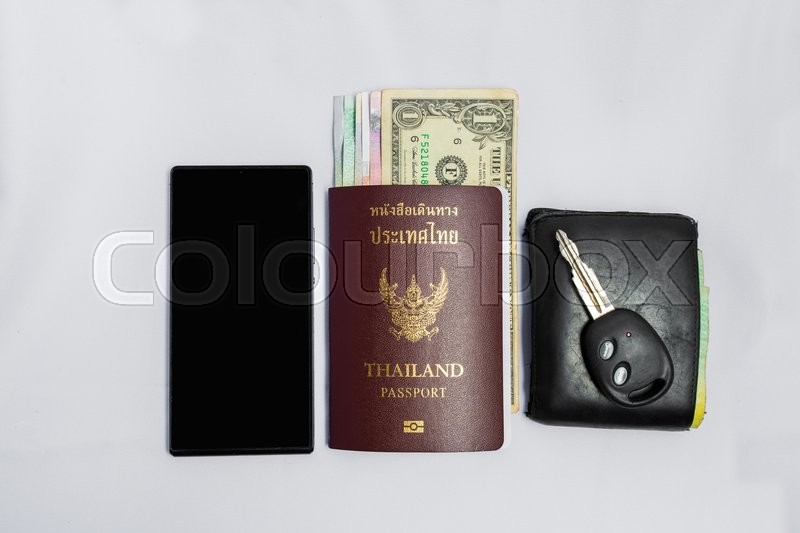 Stock image of 'Smartphone &thailand Passport to travel'