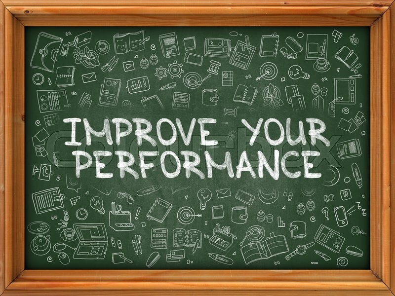 Stock image of 'Improve Your Performance - Hand Drawn on Chalkboard. Improve Your Performance with Doodle Icons Around.'