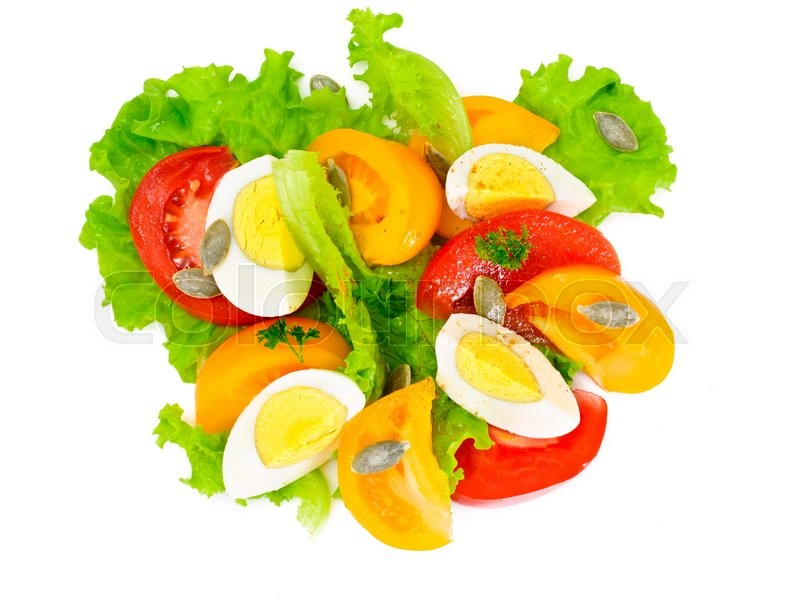 Stock image of 'Lettuce with Tomato, Pepper and Boiled Egg on White'