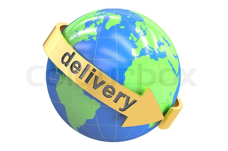 Stock image of 'Global delivery concept, 3D rendering isolated on white background'