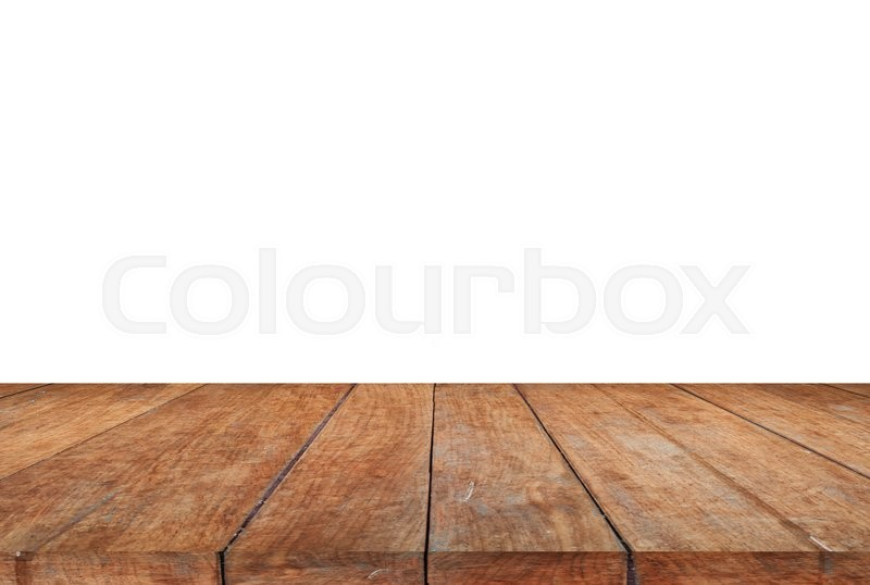 Stock image of 'Wood table top on white background, stock photo'