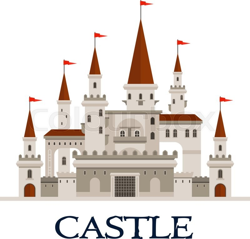 Gothic castle fortress icon with arcade palace with arched windows, balconies and terrace, towers and turrets with flags, gatehouse with lifting forged lattice of the fortress gates, vector
