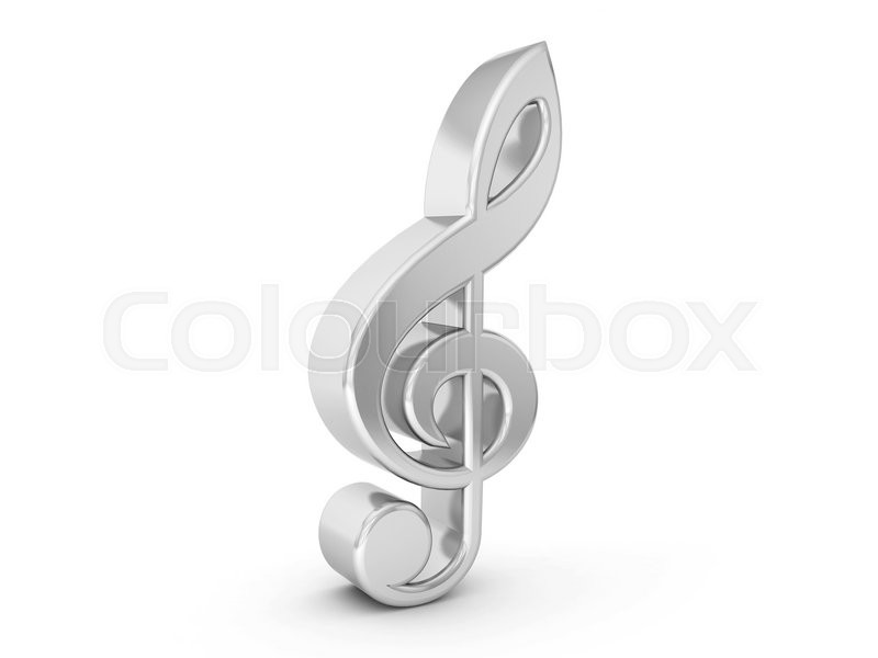 Silver Music Note Symbol On A White Background Stock Photo