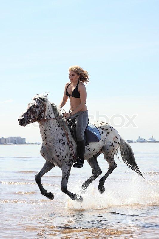 schone blondine reitet auf einem geilen hengst