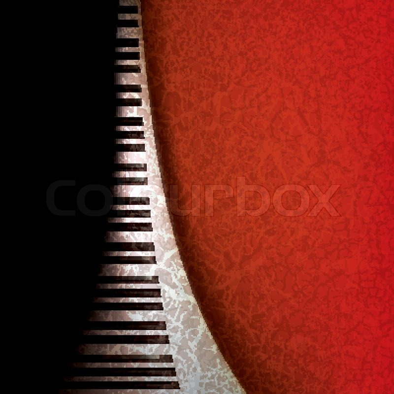 Piano Background Music: Abstract Grunge Music Background With Piano Keys On Red