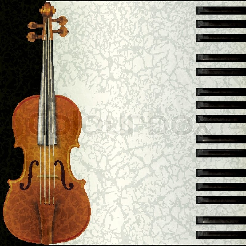 Abstract Music Background With Violin And Piano Stock