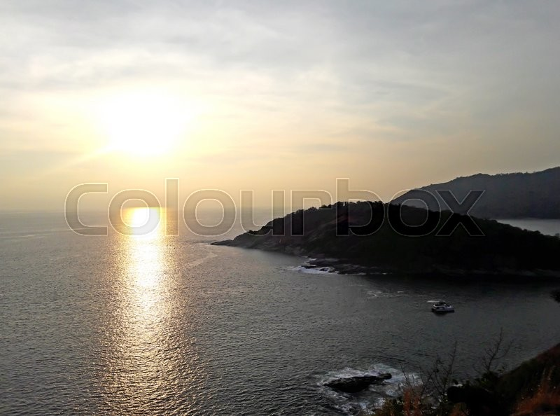 Stock image of 'Beautiful sunset at Promthep cape view point, Phuket, Thailand'