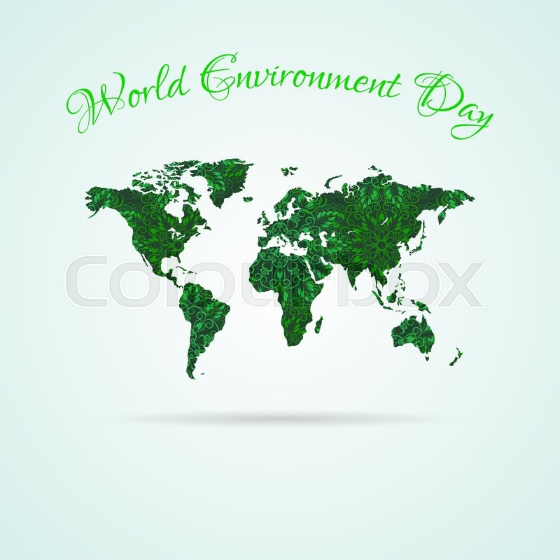 World Environment Day World Map With Green Flower Mandala Texture - Mandala map of the world
