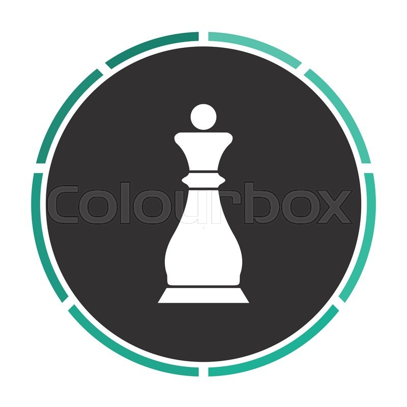 Chess Queen Simple Flat White Vector Pictogram On Black Circle