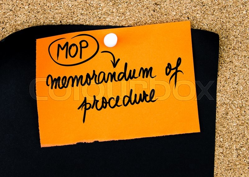 Stock image of 'Business Acronym MOP as Memorandum Of Procedure written on orange paper note pinned on cork board with white thumbtacks, copy space available'