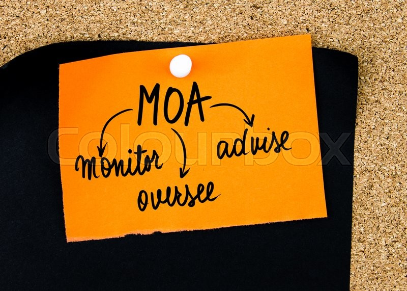 Stock image of 'Business Acronym MOA as Monitor, Oversee, Advise written on orange paper note pinned on cork board with white thumbtacks, copy space available'