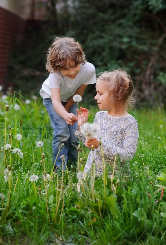 Stock image of 'Little girl sitting in the grass with a bouquet of dandelions. The boy leaned over her and present  a flower'