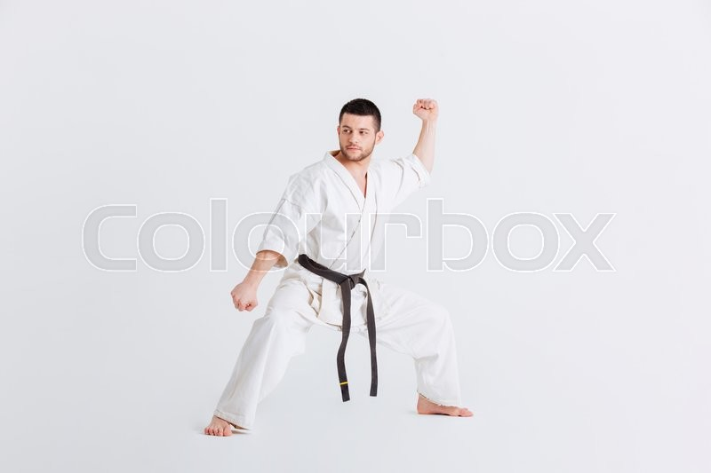 Stock image of 'Male fighter standing in defensive stance isolated on a white background'