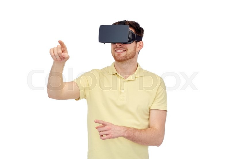 Stock image of '3d technology, virtual reality, entertainment and people concept - happy young man with virtual reality headset or 3d glasses playing game'