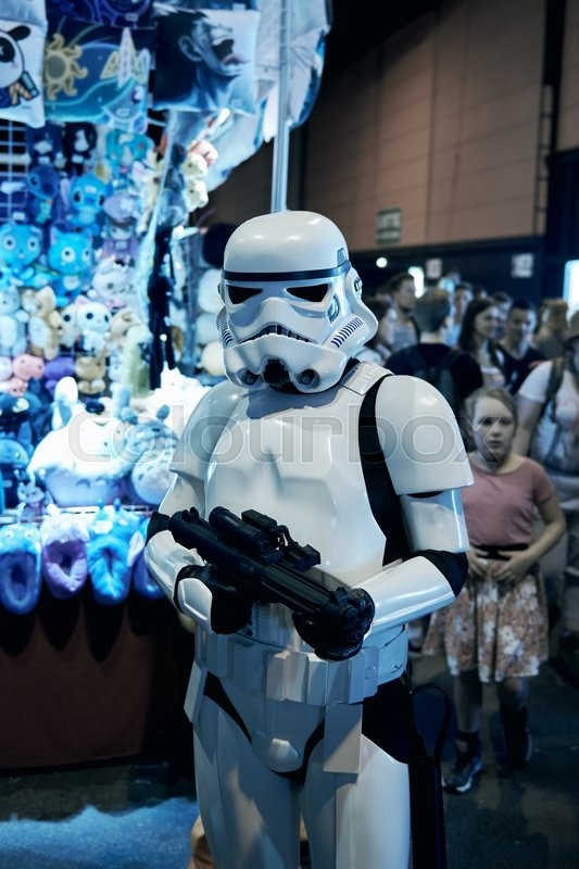 Editorial image of 'STRASBOURG, FRANCE - MAY 8, 2016: Darth Vader also known as Anakin Skywalker posing in front of camera at the open market Digital Game Manga Show'