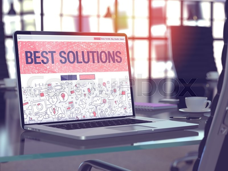 Stock image of 'Modern Workplace with Laptop Showing Landing Page in Doodle Design Style with Text Best Solutions. Toned Image with Selective Focus. 3D Render.'