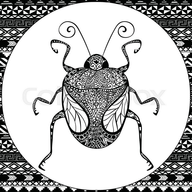 Coloring Page of Decorative Black Bug with Hand Drawn Patterns ...