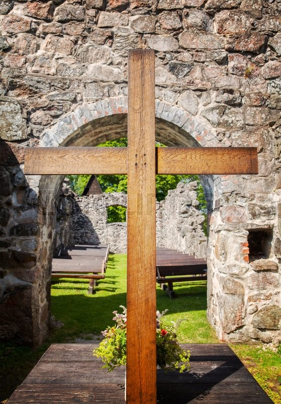 Stock image of 'Image of the outdoor altar at Rya church ruin, Sweden. '
