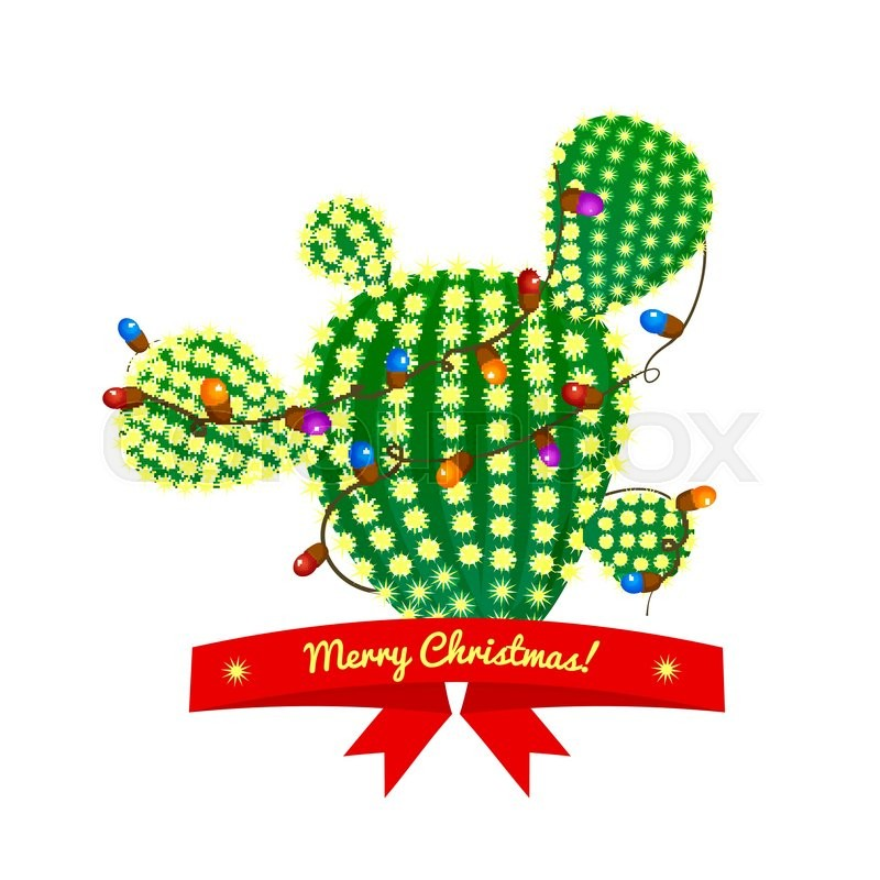 Cactus Decorated For Christmas: Christmas Green Prickly Pear Cactus Tree With Four Spikes