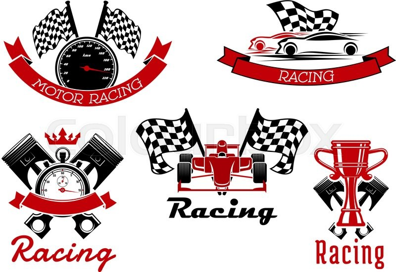 auto racing sporting icons of sports cars and open wheel