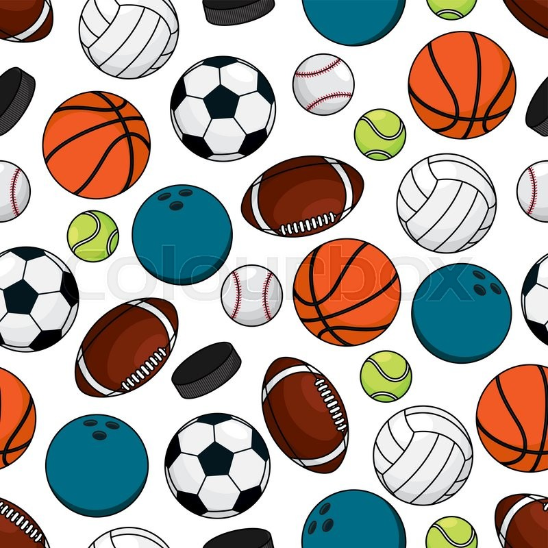 Team Games Sporting Seamless Pattern Of Ice Hockey Pucks With Balls For Soccer And American Football Basketball Baseball Volleyball