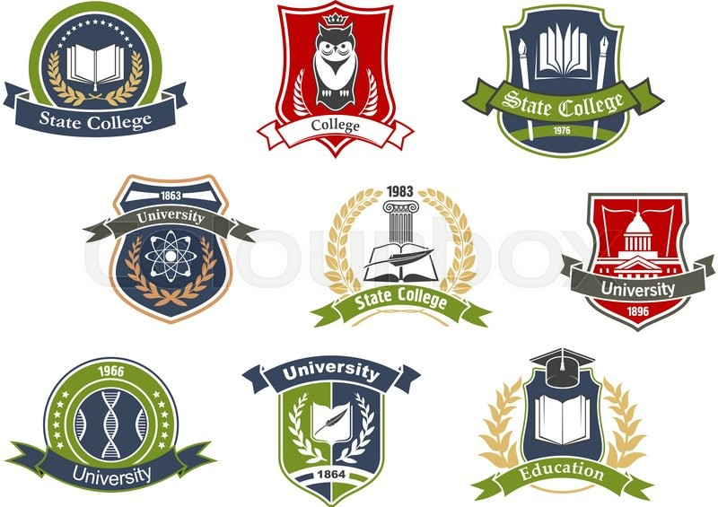 Education Symbols For University And College School Design With