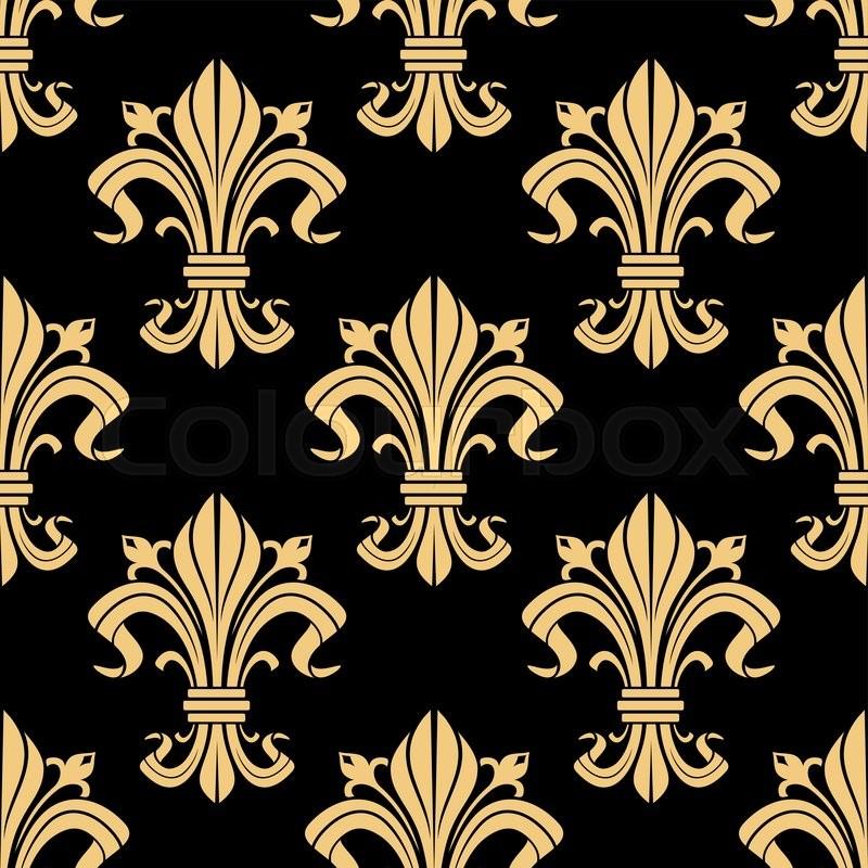 Medieval Royal Golden Fleur De Lis Pattern On Black