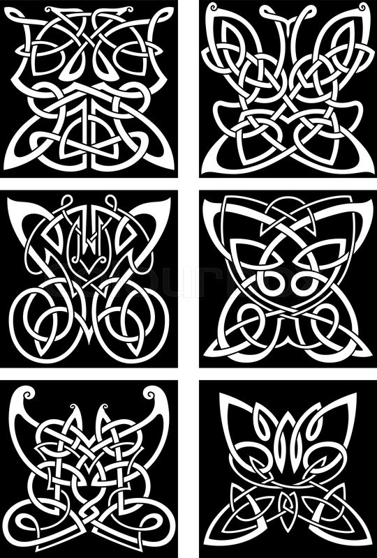 Tribal Butterflies Symbols For Tattoo Or T Shirt Print Design With