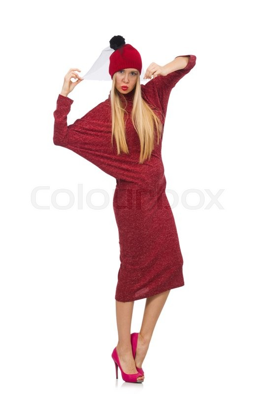 Stock image of 'Woman in bordo dress isolated on white'