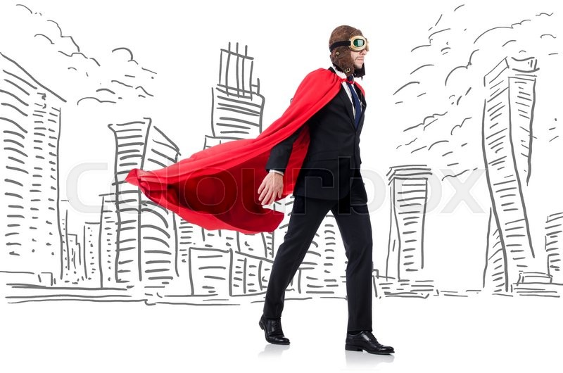 Stock image of 'Man in red cover with skyscapers at the background'