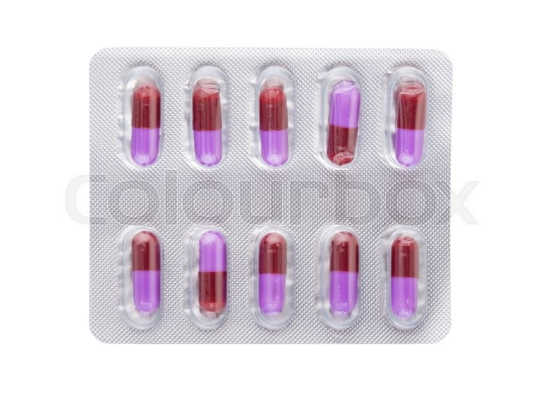 Stock image of 'Pills capsules medicine isolated on white background'
