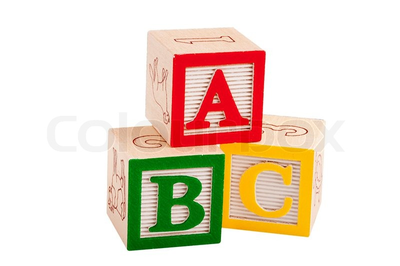 Stock image of 'Wooden blocks with letters and numbers for the ...