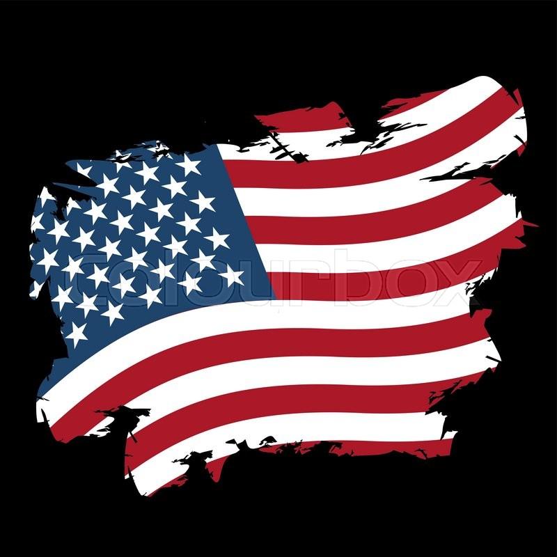Usa Flag Grunge Style On Black Background Brush Strokes And Ink