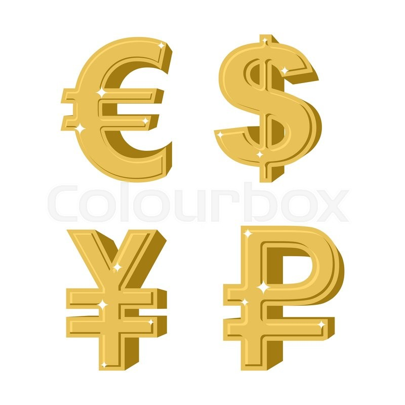 Set Of Golden Symbols Money Russian Ruble Euro European Cash